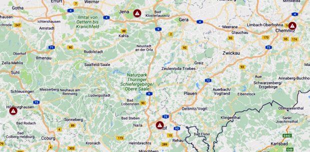 Giftmüll auf Abwegen: Die betroffenen Deponien Richtung Hof und Hildburghausen. Map von Muellrausch.de