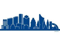 Motiv der Partnerschaftsbank auf dem Augustusplatz: Verschmelzung der Skylines von Houston und Leipzig. Foto: Mandy Stumpe