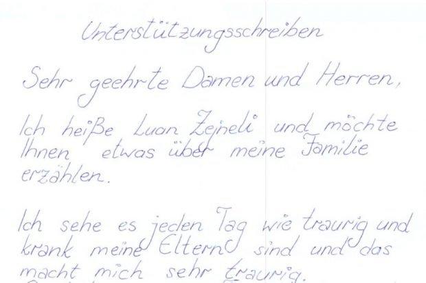 Das Schreiben an die Härtefallkommission. Foto: privat