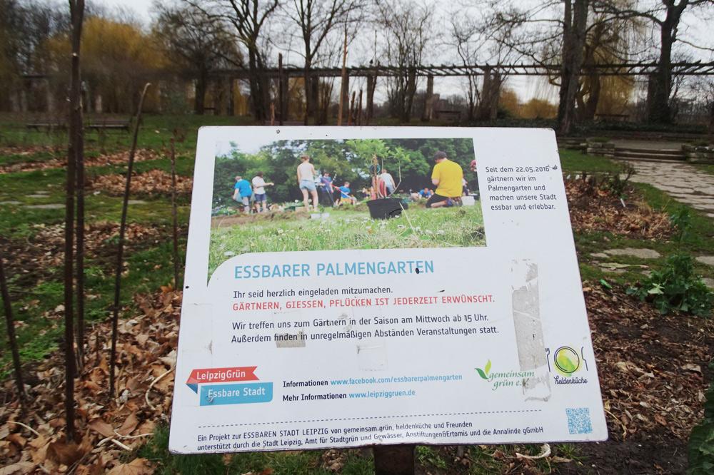 Infotafel Essbare Stadt im Palmengarten. Foto: Grüne Fraktion Leipzig