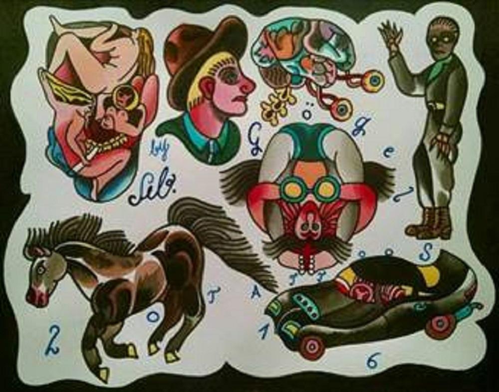 Tattoo-Vorlagen von Sebastian Gögel, Foto: Grassi Museum