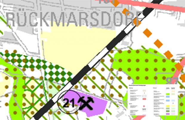 """Karte aus dem """"Beteiligungsentwurf Regionalplan Leipzig-Westsachsen 2017"""": Das umstrittene Gebiet ist gelb (Landwirtschaftsfläche) eingemalt, die Fläche für """"Waldmehrung"""" mit grünen Karos. Karte: PPV Westsachsen"""