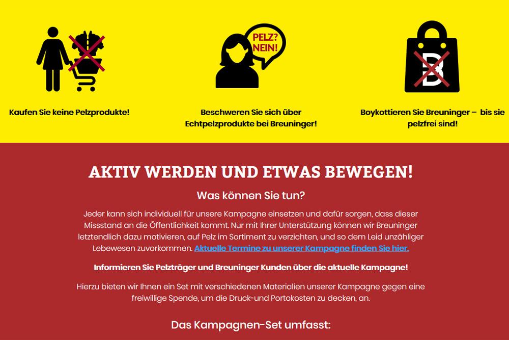 Kampagnenseite des Deutschen Tierschutzbüros. Screenshot: L-IZ