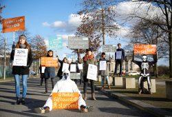 Am 1. Februar hatte der VCD bereits vor dem Bundeskanzleramt gegen die Stickoxidbelastung und für saubere Luft demonstriert. Foto: VCD