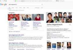 Google-Suchergebnis zu Sahra Wagenknecht am 26. Februar 2018. Screenshot: L-IZ