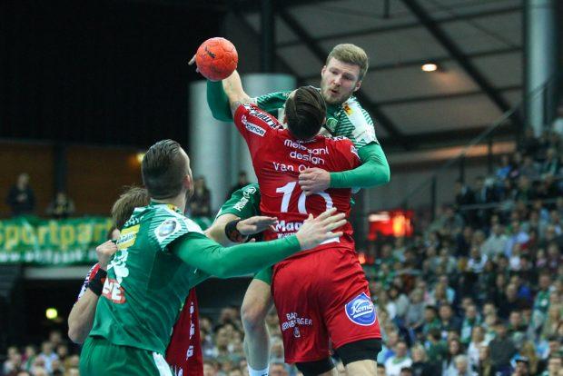 Philipp Weber (DHfK) traf trotz großer Lemgoer Gegenwehr neun Mal. Foto: Jan Kaefer