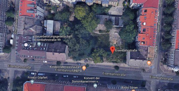 Das Gelände an der Eisenbahnstraße 105 im Leipziger Osten. Quelle: Satellit Google-Maps