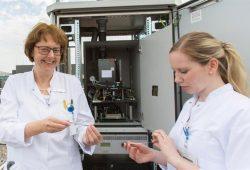 Auf dem Dach der Frauen- und Kindermedizin des UKL steht Ostdeutschlands einziger elektronischer Pollenmonitor. Prof. Regina Treudler (links), Ärztliche Leiterin des Leipziger Interdisziplinären Centrums für Allergologie (LICA), und Dr. Jeannine Wobser werten die Daten, die das Gerät liefert, aus. Foto: Stefan Straube/UKL