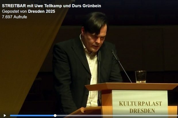 Uwe Tellkamp am 8. März 2018 in Dresden. Videoscreen Facebook Dresden2025