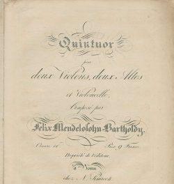 Quintett ED op. 18 von Felix Mendelssohn Bartholdy. Foto: SAW