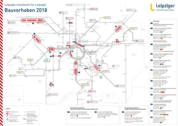 Die Baumaßnahmen 2018 (mit einer etwas anderen Nummerierung). Karte: LVB
