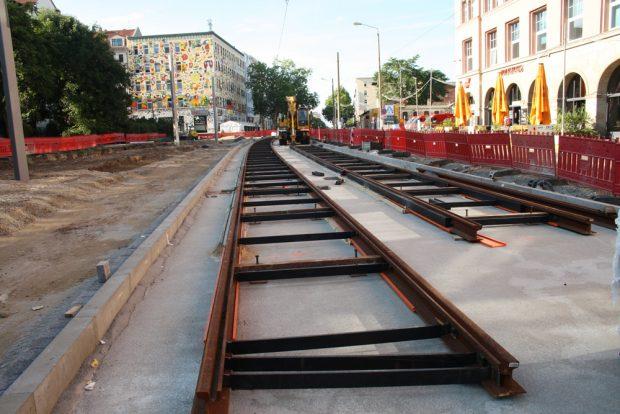 Gleisbau - hier in der KarLi. Foto: Ralf Julke