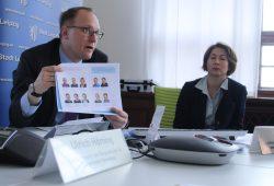 """Bürgermeister Ulrich Hörning und Silvia Haas, Leiterin der Koordinierungsstelle """"Leipzig weiter denken"""" im Stadtplanungsamt. Foto: Ralf Julke"""