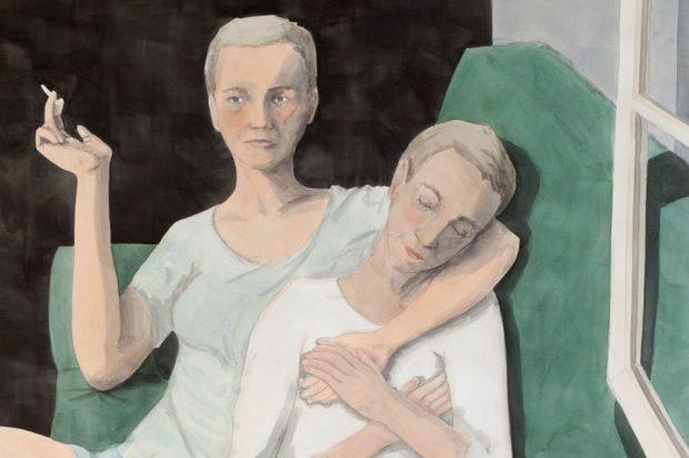 Anna M. Kempe: Freunde, Aquarell auf Papier, 149 × 117 cm, 2016 (Ausschnitt). Foto: Galerie b2_