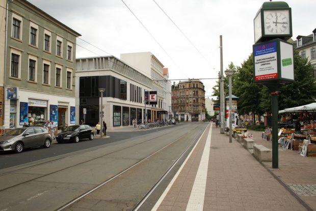 Lindenauer Markt mit Marktständen. Foto: Ralf Julke