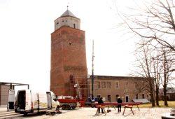 Bauarbeiten für die neue Holztreppe am Mauerturm. Foto: Stadt Eilenburg