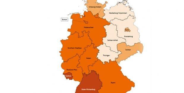 """Verdienstunterschiede zwischen Männern und Frauen nach Bundesländern. Karte: """"Atlas zur Gleichstellung von Frauen und Männern in Deutschland"""" des BMFSFJ"""