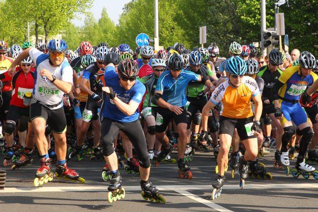 42. Leipzig Marathon am 22.04.2018. Im Bild: Start des Halbmarathon Inliner, Skater, Am Sportforum. Foto: Jan Kaefer