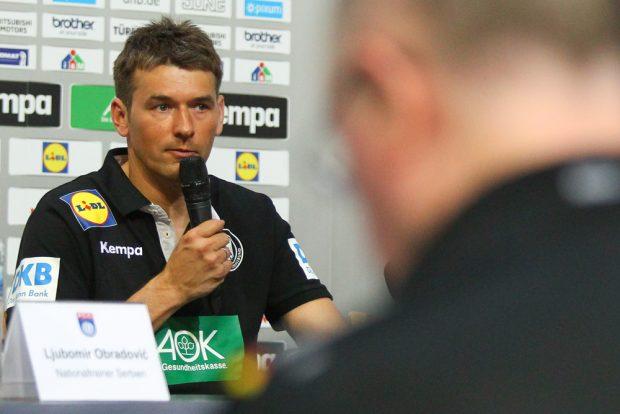 Bundestrainer - und ehemaliger DHfK-Coach - Christian Prokop konnte auf der anschließenden Pressekonferenz ein positives Fazit ziehen. Foto: Jan Kaefer