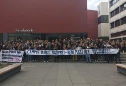 Protest gegen die Identitären auf dem Campus. Foto: Prisma