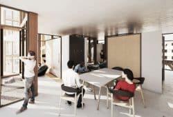 Entwurf für einen Hostel-Innenraum von Dennis Koehler und Norman Walla. Quelle: Dennis Koehler/Norman Walla