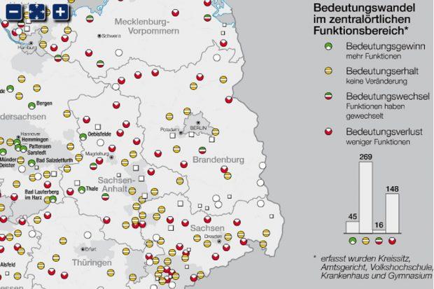 Der Bedeutungsverlust vieler Kleinstädte im Osten. Karte: IfL, Nationalatlas