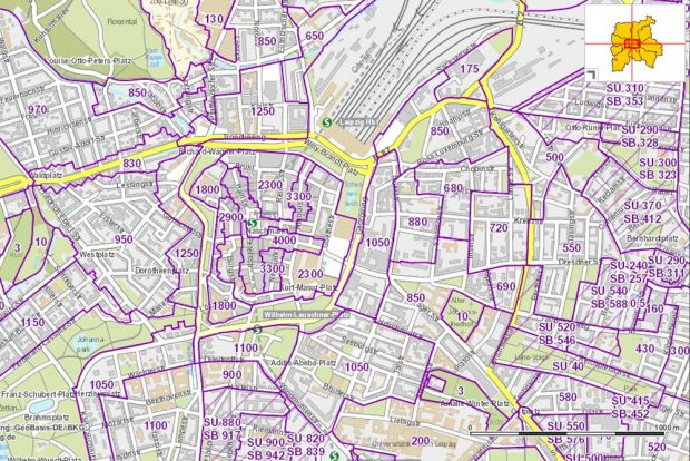 Bodenrichtwerte in der Leipziger Innenstadt. Karte: Stadt Leipzig