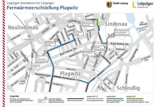Die geplanten neuen Abschnitte im Fernwärmenetz. Grafik: Stadtwerke Leipzig