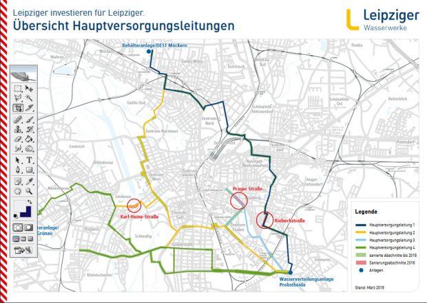 Die Hauptversorgungsleitungen der Kommunalen Wasserwerke Leipzig mit den eingezeichneten Baustellen 2018. Grafik: KWL