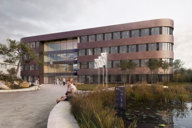 Visualisierung des neuen iDiV-Forschungsgebäudes. Visualisierung und Architektur: Depenbrock Partnerring GmbH & Co. KG Bielefeld