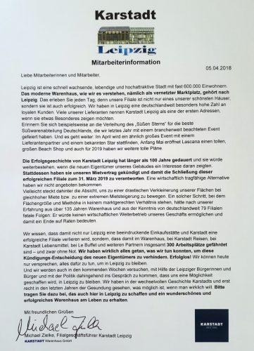 Der Mitarbeiter-Brief an die Karstadt-Belegschaft. Repro: L-IZ