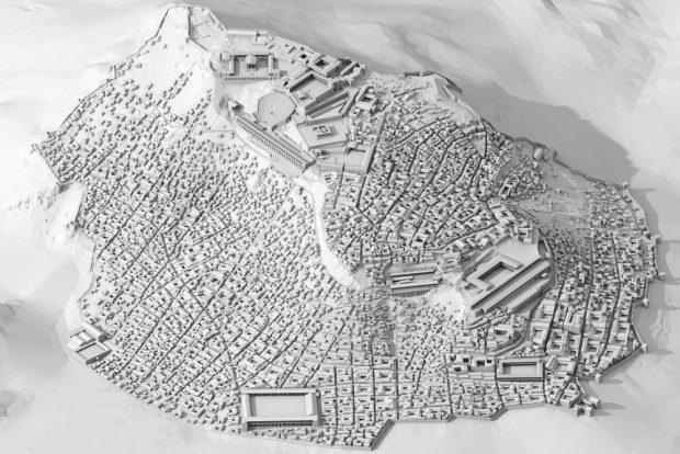 Pergamon, Stadtberg. Virtuelles Modell des Zustands um 200 n. Chr. Lehrstuhl Darstellungslehre. Foto: Prof. Dominik Lengyel, BTU Cottbus/DAI, Abteilung Istanbul