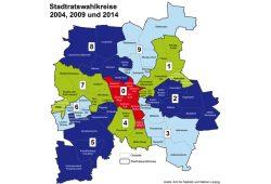 Wahlbezirkszuschnitt bei den Wahlen 2004, 2009 und 2014. Grafik: Stadt Leipzig, Amt für Statistik und Wahlen