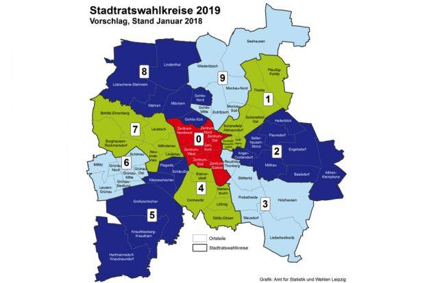 Vorgeschlagene Wahlbezirkszuschnitte für 2019. Grafik: Stadt Leipzig, Amt für Statistik und Wahlen