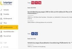 LVB-Verkehrsmelder, Montag, 23. April. Screenshot: L-IZ