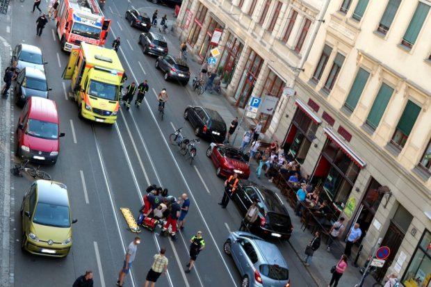 Am 18. Mai 2018: Der vorerst letzte in einer Reihe von schweren Unfällen auf der Jahnallee. Foto: L-IZ.de