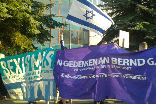 Kundgebung in der Kamenzer Straße. Foto: René Loch