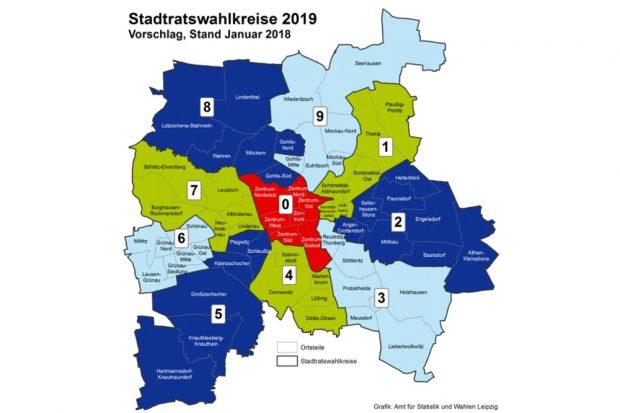 Die neuen Wahlkreise zur Kommunalwahl 2019. Bild: Stadt Leipzig / Statistikamt