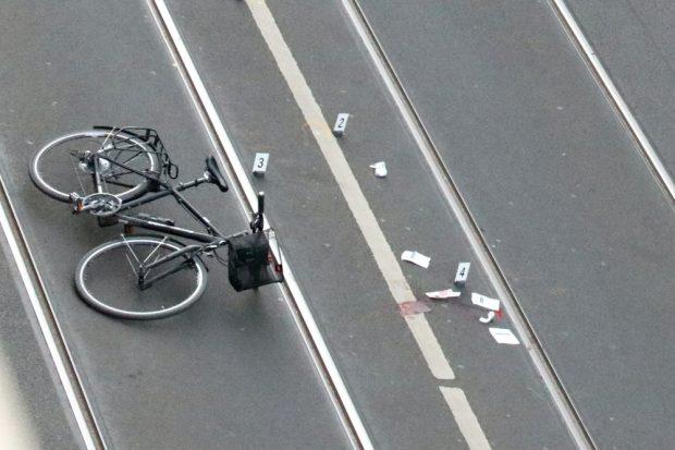 """Anlass und Beginn der Debatte um die """"Innere Jahnallee"""": Eine Häufung von Unfällen unter anderem für Radfahrer. Hier der vom Mai 2018. Foto: L-IZ.de"""