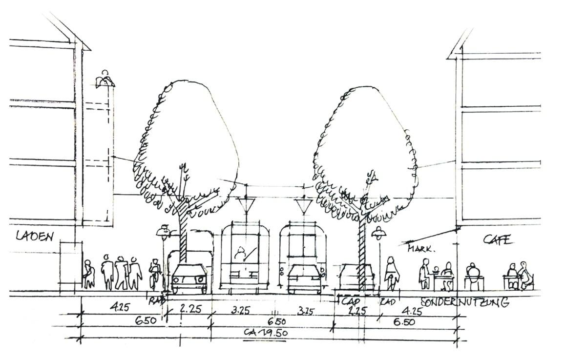 Die wohl einzige Dauerlösung in einer Skizze von 2004, noch vor dem ersten Umbau der inneren Jahnallee. Foto: Zeichnung: Peter Schmelzer, Quelle: Stadtteilheft des Waldstraßenviertel e.V.