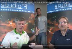"""Im """"Vorspiel""""-Studio: Norman Landgraf, Arvid Schröpfer und Holger Herzberg (v.l.). Foto: Screen Heimspiel TV"""