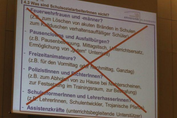 Was Schulsozialarbeit alles nicht ist - aus dem Vortrag von Dr. Karsten Speck. Foto: L-IZ.de
