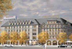 """Sanierte Fassade des Hotel """"Astoria"""". Visualisierung: wolff architekten"""