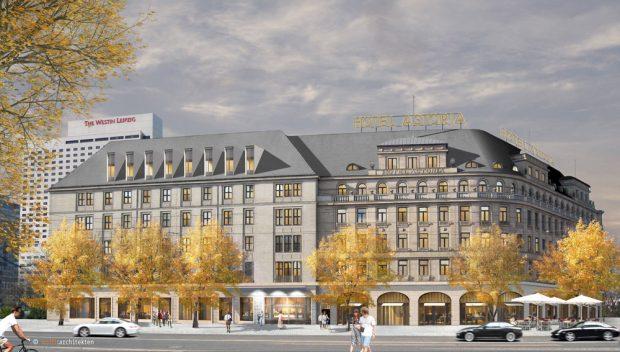 """Die sanierte und in Teilen rekonstruierte Fassade des Hotel """"Astoria"""". Visualisierung:wolff architekten"""