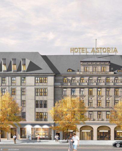 """Hotel """"Astoria"""": Front zum Willy-Brandt-Platz. Visualisierung: wolff architekten"""