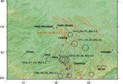 Registrierte Erdbeben in Mitteldeutschland. Karte: GFZ Potsdam