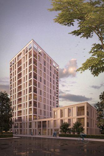 So soll das neue Hochhaus der Lipsia aussehen. Visualisierung: Fuchshuber Architekten GmbH