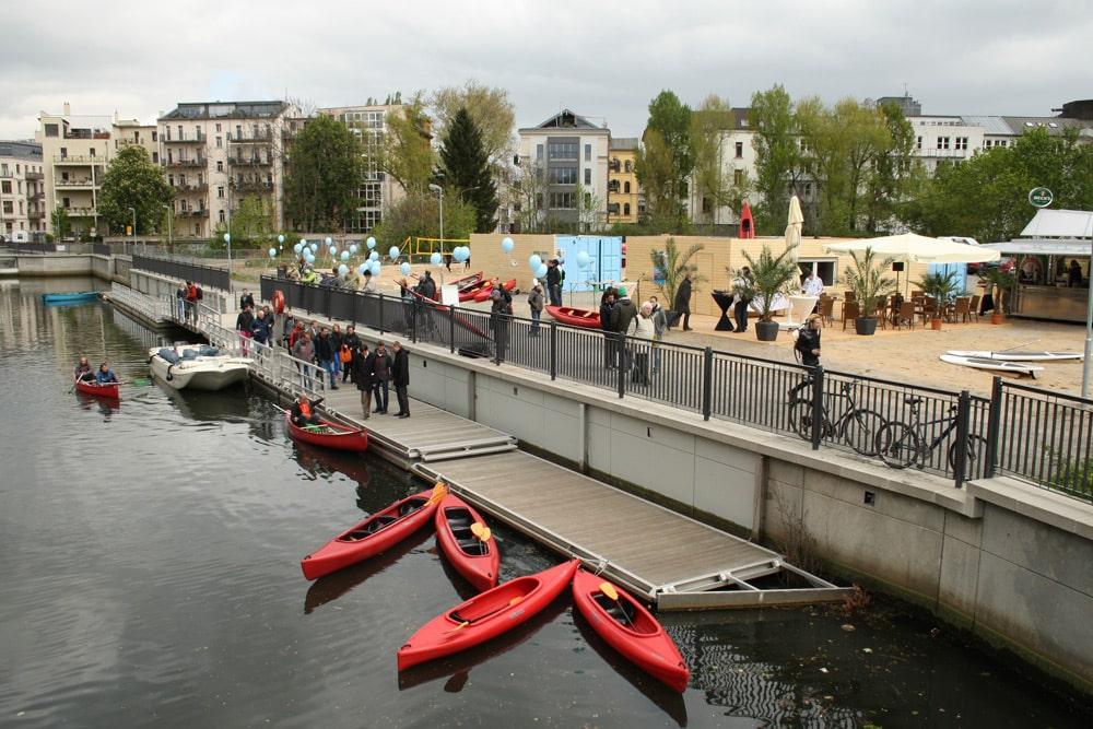 2014 in Betrieb gegangen: die Mole des Stadthafens. Foto: Ralf Julke