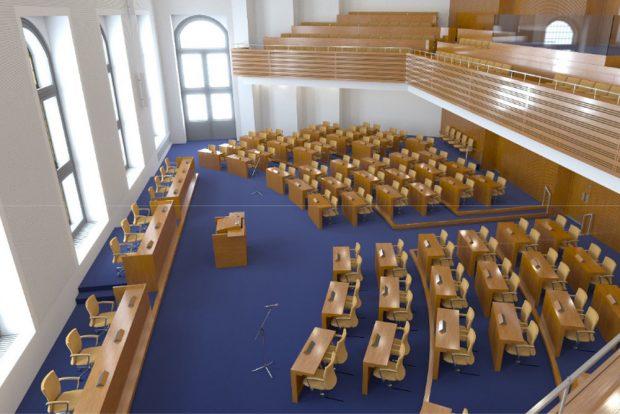 Die vorgeschlagene Variante III für den Sitzungssaal. Grafik: Stadt Leipzig