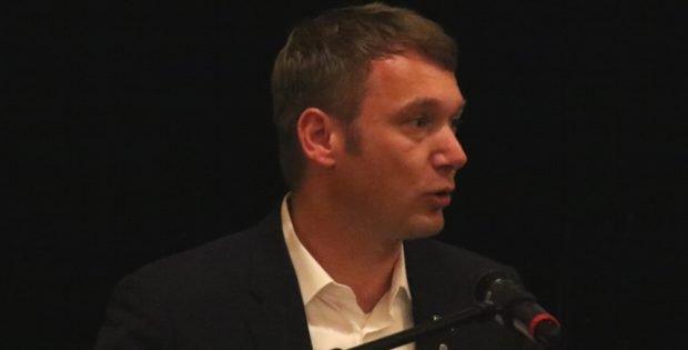 André Poggenburg (Ex-AfD) am 31. Mai 2018 zu Gast in Markkleeberg. Foto: L-IZ.de
